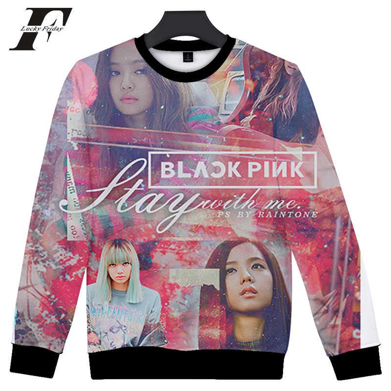 LUCKYFRIDAYF 2018 Twee Stap 3D Zwart Roze Hoodie Vrouwen Mannen Hoodie Sweatshirt Fashion Korea Muziek Team Print Zwart Roze Autmn