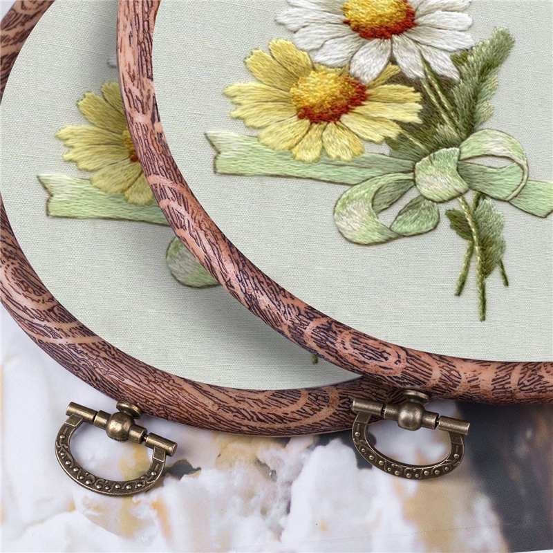 14/17CM Bamboo Frame Embroidery Hoop Ring DIY Needlecraft Cross Stitch Machine Round Loop Hand Household Sewing Tool