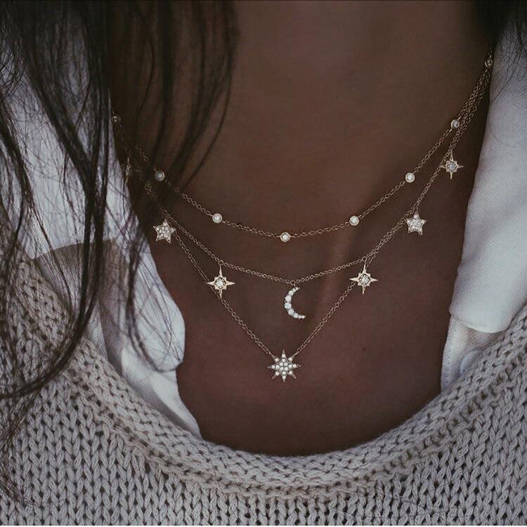 Богемное многослойное ожерелье с кулоном из кристаллов для женщин, золотые модные многослойные ожерелья и кулоны, ювелирные изделия - Окраска металла: NE-0205-15