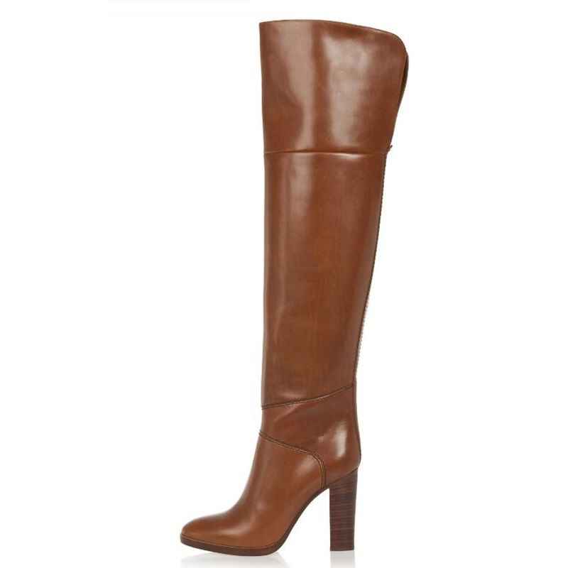New Arrival Women Long Boots Chunky High Heel Knee High Boots For Girls Fashion Round Toe Brown Winter Boots Big Size 43
