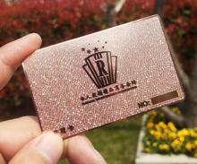 Personalizar a impressão de cartão de metal inoxidável 200 pçs/lote buraco perfurado corte a laser cartão de sócio frete grátis