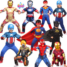 Gratis frakt Superhero Muscle Batman Captain America Iron Man Kostyme Avengers Cosplay Halloween Kostymer For Kids / Boy S-XL