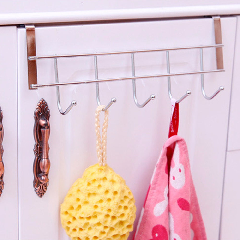 Hooks Shelf Over Door Clothing Hanger Rack Cabinet Door Loop Holder Shelf For Home Bathroom Kitchen Drip-Dry Bathroom Fixtures Towel Racks