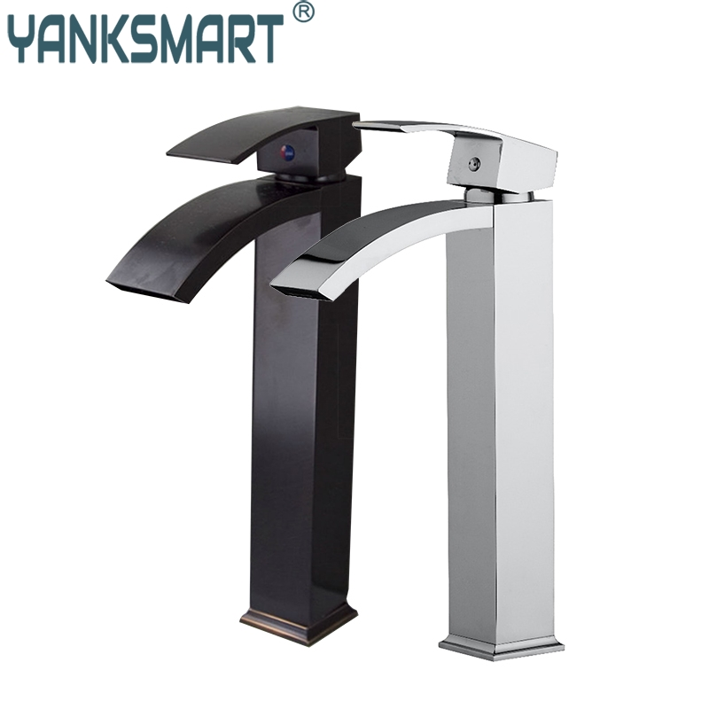 Bathroom Sink Vessel Faucet Oil Rubbed Bronze &Chrome Waterfall Basin Tap Single Handle Sink Faucets Mixers Taps automatic touchless sensor waterfall bathroom sink vessel faucet oil rubbed bronze