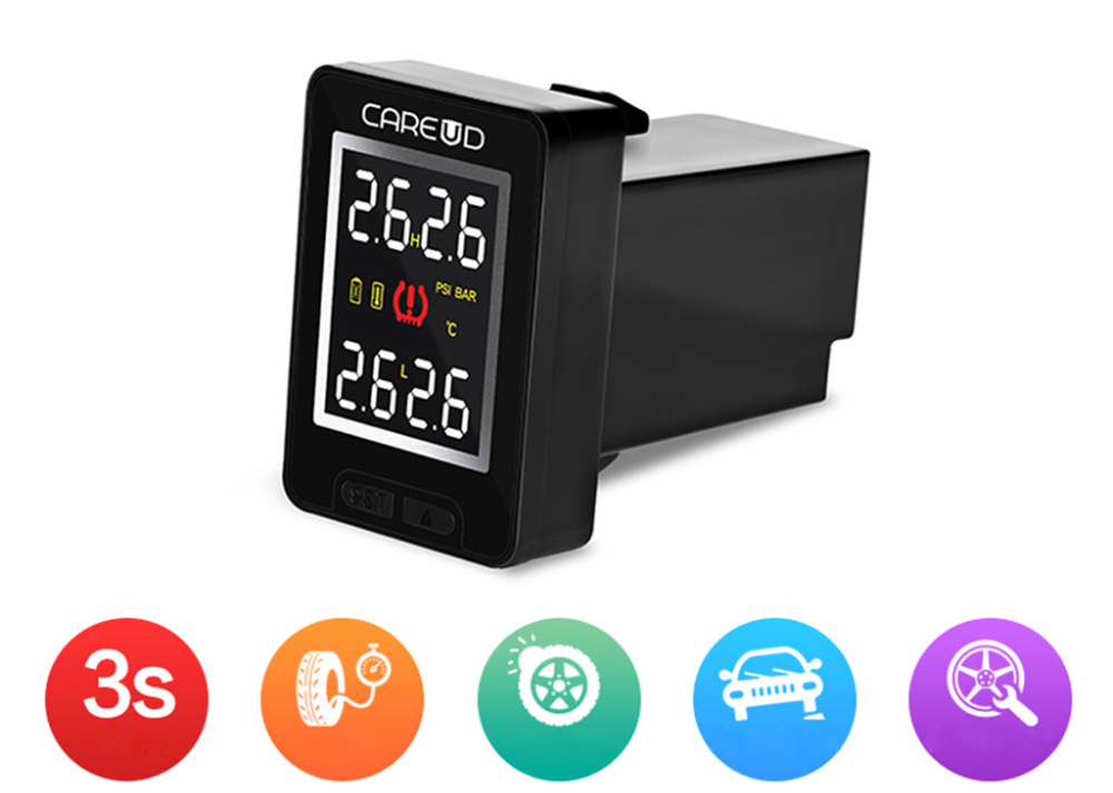 Car TPMS Wireless Auto Tire Pressure Monitoring System LCD Embedded Monitor Real-time Highly Accurate TPMS with 4 Internal Anti-Theft Sensors for Toyota Land Cruiser Reiz Only