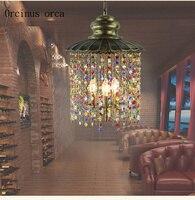 Mediterranean color crystal chandelier living room corridor balcony restaurant Southeast Asia LED single crystal chandelier