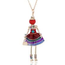 Fashion Sweet Rhinestone Dress Doll Pendant Necklace Handmade Cloth French Paris Doll Maxi Necklaces Jewelry for Women Girls sweet rhinestone elephant necklace jewelry for women