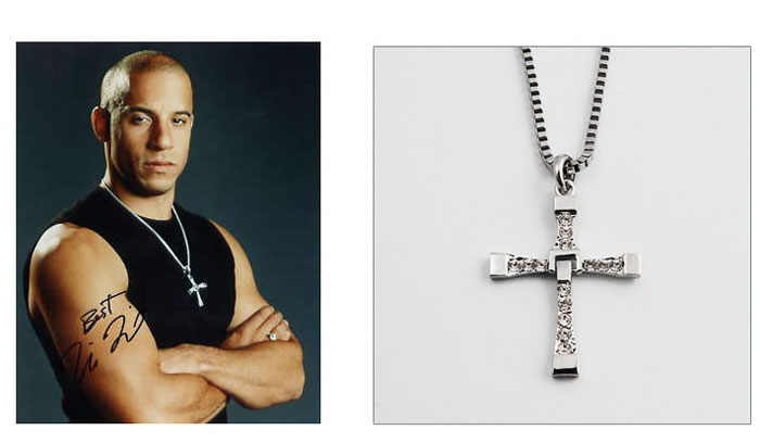 The Fast And The Furious Dominic Torettos Cruz Cadeia Pingente de Colar de Strass Colar Gargantilha Collier Femme