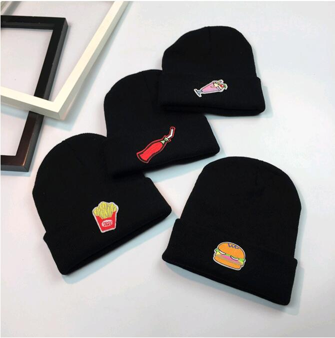 2017 Korean cartoon Knitting wool Hat Winter warm fashion hat for women men simple hamburge patch cap  ice cream, potatoes the new children s cubs hat qiu dong with cartoon animals knitting wool cap and pile