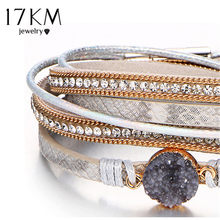 17KM Vintage Stone Crystal Charm Bracelets & Bangle For Woman Men Fashion Female Handmade Multilayer Leather Wristband Bracelet(China)
