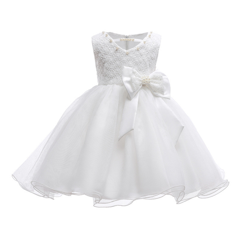 Brand New Baby Girl Dresses White Pearl Bow Party Pageant Dress Little Kids Children Dress for Party Wedding Size 2-12Y brand new flower girl dresses white blue real party pageant communion dress little girls kids children dress for wedding