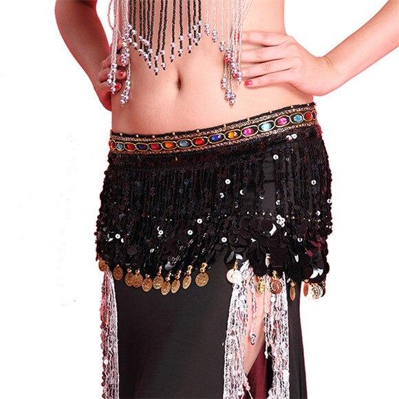 New Sexy Dance Skirt Hip Scarf Chiffon Rhinestone Tassel Decor Sequin Hip Wrap Belt