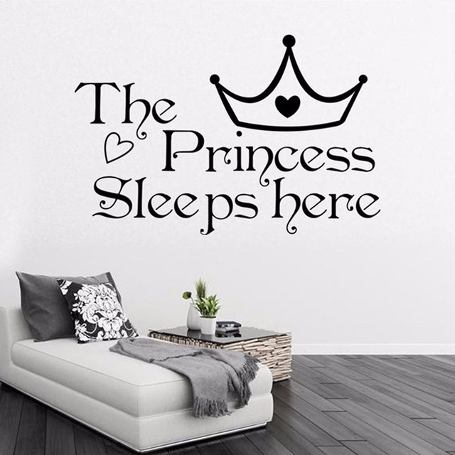 CaCar The Princess Sleeps Here Famousu0026Inspirational Quotes Vinyl Wall  Stickers Living Bedroom Removable Sofa Diy Home