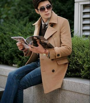 Khaki winter double-breasted wool coat mens trench coats slim casual coat business overcoat for mens fashion pea coats S – 3XL