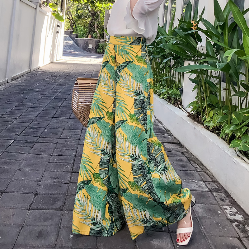 Fashion high waist   pants   2018 summer women's boho style printed trousers casual loose female   wide     leg     pants