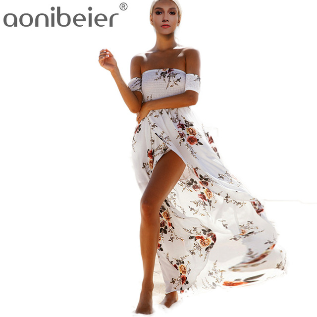 04457ef3fd1 QIUXUAN Plus Size Floral Print Short Sleeve Shirred Off Shoulder Dress  Fashion Wrap Front Women Maxi Dress High Waist Dress