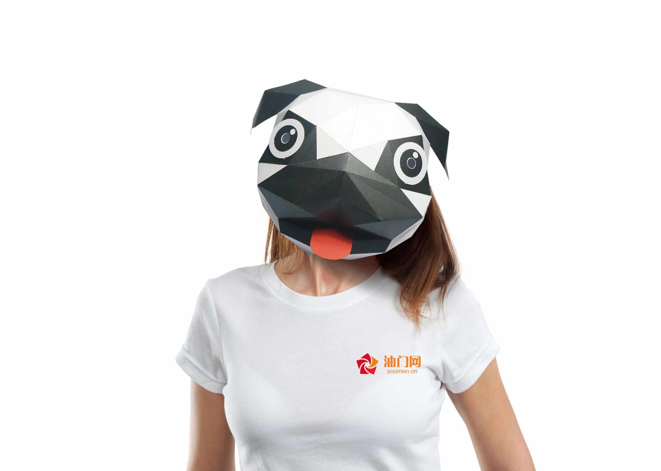 3D Paper Mask Fashion Little Stupid Dog Animal Costume Cosplay DIY Paper Craft Model Mask Christmas Halloween Prom Party Gift