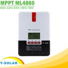 Контроллер заряда солнечной батареи MPPT 60A, 12 В, 24 В, 36 В, 48 В, автоматический ЖК дисплей, регулятор заряда солнечной батареи для входа солнечной панели макс. 150 в ML4860
