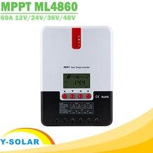 Mppt 60a controlador de carregador solar 12 v 24 v 36 48 v display lcd automático regulador solar para max 150 v entrada do painel solar ml4860