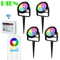 Газон лампы milight 9 Вт RGB CCT открытый светодиодные Водонепроницаемый 2.4 г РФ дистанционного 6 Группа Wi-Fi смартфон Управление ip65 4 шт. по DHL