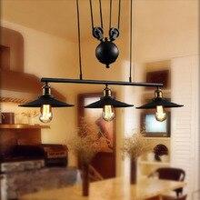 3 Heads E27 Edison Loft Vintage Industrial Retro Iron Pulley pendant light Loft Vintage Retro Wrought Iron Black pendant lamps