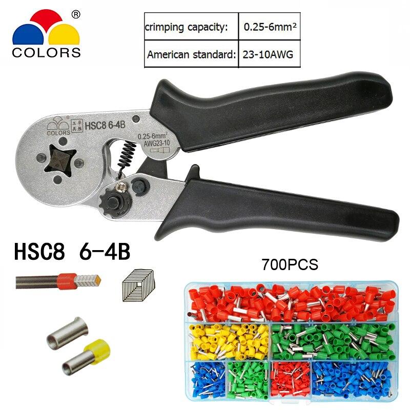 Zangen Werkzeuge Farben Hsc8 6-4b Draht Crimpen Zangen Für Rohr Typ Nadel Typ Terminal Crimp Selbst-anpassung Kapazität 0,25-6mm2 23-10awg Werkzeug