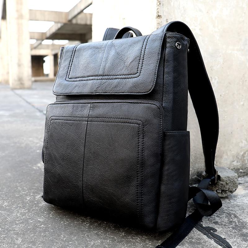 MVA мужской рюкзак из натуральной кожи, винтажные дорожные сумки, мужская деловая сумка для ноутбука, мужская сумка из воловьей кожи, черные сумки на плечо 6115 - 2
