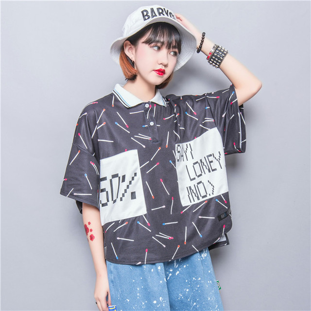 Harajuku zipper soft cartoon lilliputian matches applique letter placketing short-sleeve polos plus size