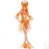 orange fish dress for women mermaid dress goldfish dress halloween cosplay costumes funny animal clothing carnival cosplay