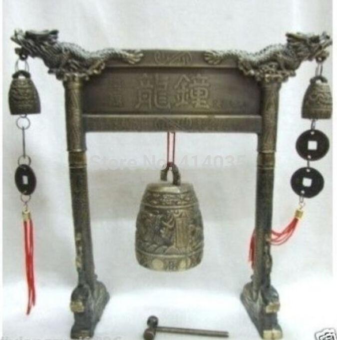 Буддийские старый Тибет латунь Резные Дракон Bell Figurine пение повезло колокол антикварные украшения сада 100% Настоящее Тибетский серебро лату...