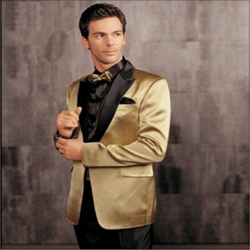 Top Quality Custom Made Golden Tuxedo Jacket Black Shawl Lapel Black Pants,Bespoke Groom Tuxedos, Wedding/Business Suits For Men