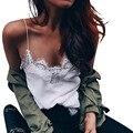 Moda Feminina Cetim cami Tanque Branco Top Spaghetti Strap Camis Sólidos cor Chiffon camisola Patchwork rendas bralette encabeça feminina
