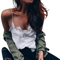 Mujeres de la manera Satén cami Tank Top Camis Correa de Espagueti del Remiendo Del cordón bralette Blanco Gasa del color Sólido camisola tops feminina