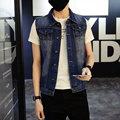 2016 Fashion Sleeveless Denim Jacket Men Outerwear Mens Jeans Vest Coat Male Korean Trend Hip Hop Boys Clothes Plus Size 5XL