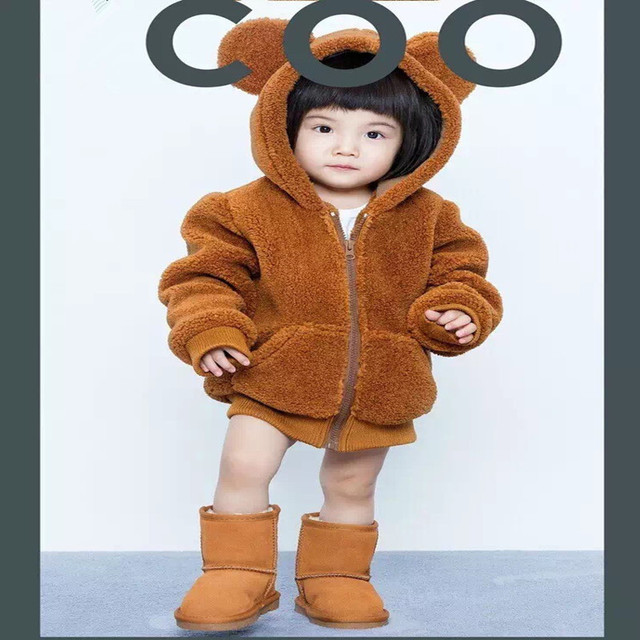 Baby boy girl thicken jacket children lamb velvet bear warm jacket coat thickening plus velvet cashmere