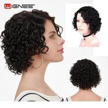 Wignee, Короткие афро кудрявые человеческие волосы, парики для женщин, 150%, высокая плотность, натуральный черный, без клея, кружевные части, парики из человеческих волос