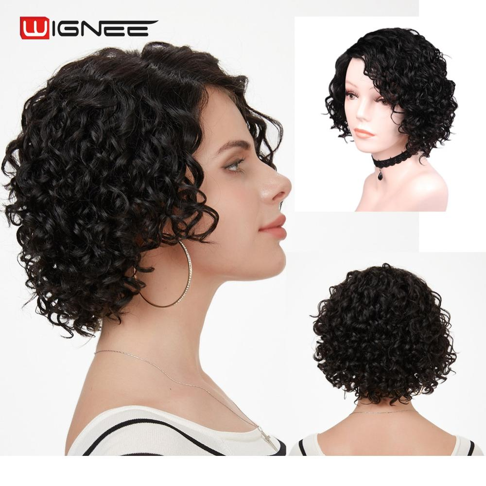 Wignee Short Curly Human Hair Wigs For Women Afro Kinky Bob Wig 150% High Density Natural Black Lace Part