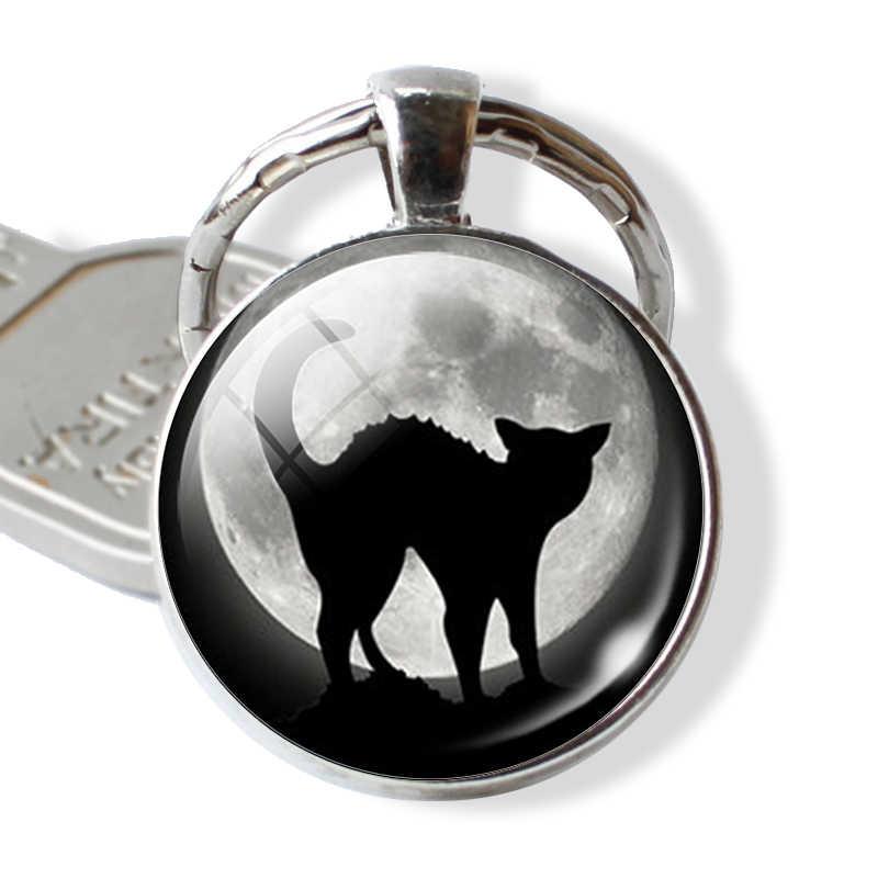 Gato preto citações chaveiro amantes gato chaveiro com vassoura bruxa vidro do vintage gatinho jewerly preto gato cabochão chaveiro