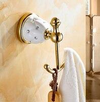 luxury diamond & brass golden robe hook kitchen hangers gold towel rack clothes hook Bathroom Accessories kitchen hanger