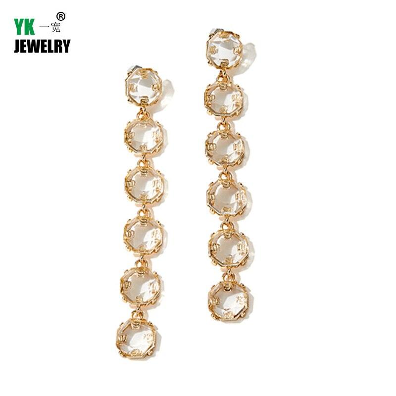 Vintage Gold Round Drop Earrings For Women Baroque Long Dangle Earrings Statement Jewelry Brinco