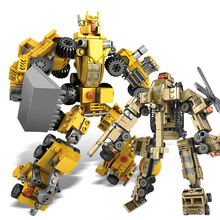 6 IN 1 Building Block Bricks Engineering Vehicles Deformation Car Robot Transformation Toys Robot Action Figure model child Gift цена 2017