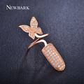 NEWBARK Sparkling Nail Rings Charm Jewelry Micro CZ Diamond Pave Butterfly Flying Punk Austrian Crystal Ring For Women Christmas