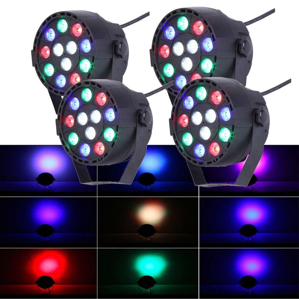 (Ship From EU) 4Pcs 12W LED Stage Strobe Par Dimmer Light RGBW DMX512 Party KTV Disco DJ Show