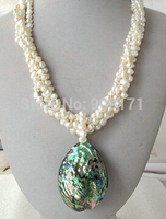 >>4 ROW White Nugget Baroque Pearl Necklace Abalone Pendant 14KGP GP 18