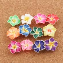 17pcs Handmade Clay Lily Flower Beads Colorful Polymer Plumeria Flowers L3104 20mm