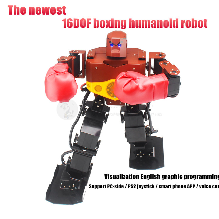 H3S 16DOF Humanoid Boxing robot aluminum frame support visual programming interface RC by PS2 controller / APP / voice control