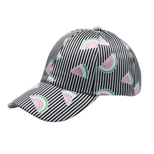 Spring And Summer Fashion Print Striped Fruit Pattern Baseball Cap Watermelon Adjustable Cap For Women Visor Men 's Caps