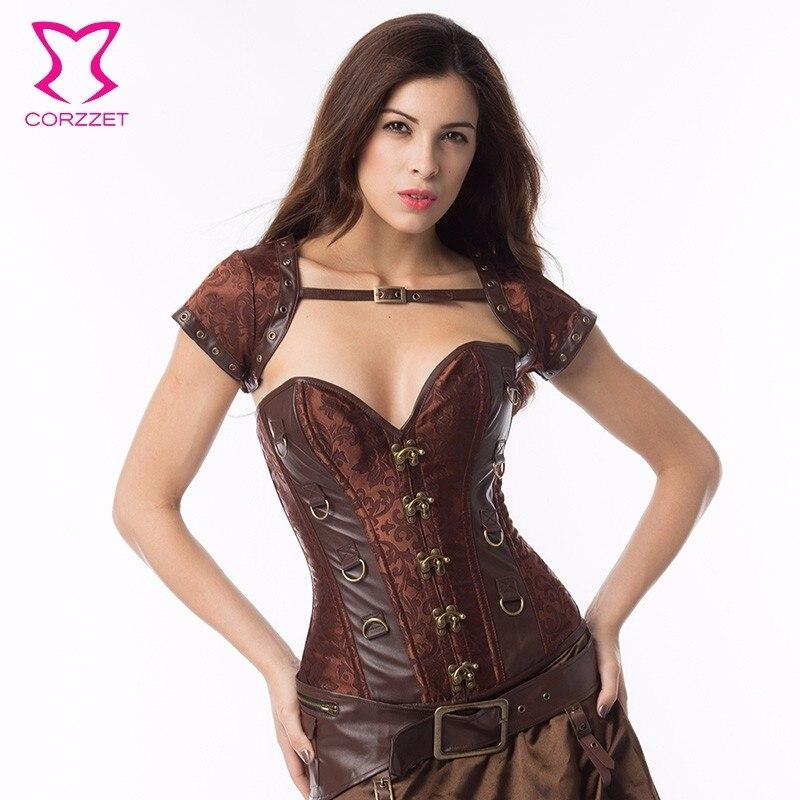 Sexy Steampunk marron brocart cuir Corset femmes charmante taille formateur gothique Corset et Bustire Burlesque vêtements