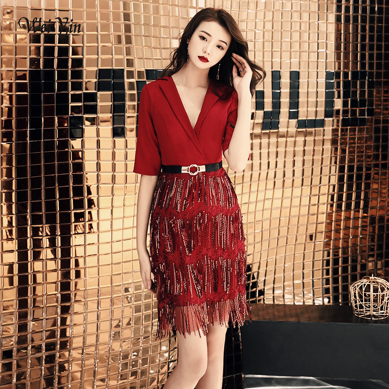 weiyin 2019 New   Cocktail     Dresses   Wine Red Tasse Short Sleeve Above Knee Length Formal   Dress   Party Gown WY1486
