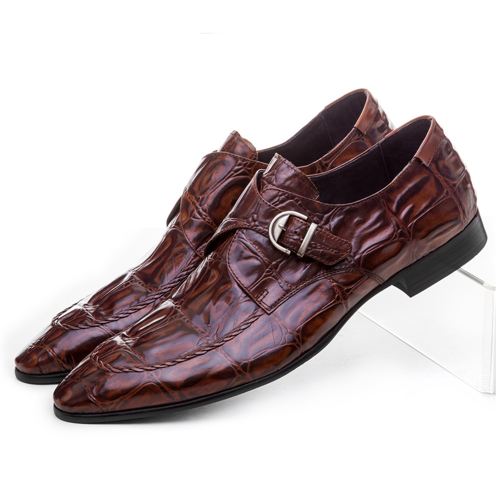 CLORISRUO Crocodile Grain brown tan / black mens dress shoes genuine leather wedding shoes casual mens business shoes with buckl